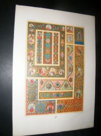 Racinet Ornament 1874 Folio Antiqu Print. Middle Ages #3